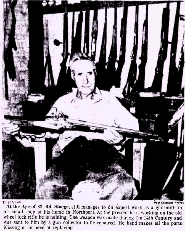 Appleton Post Crescent article about William ( Bill ) Staege in his Northport gunsmithing home